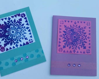 Artsy Flower Stencil Design Card Set
