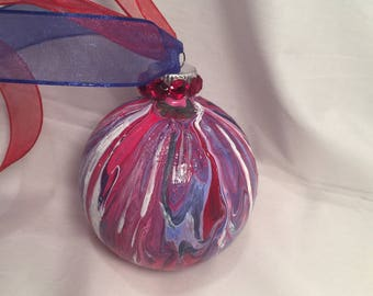 Red White Blue Patriotic  Marble Acrylic Pour Painted Glass Christmas Ornament Rhinestones Ribbon, Pick Size, Hand Painted, One of a Kind