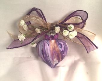 Purple Gold White Swirl  Acrylic Pour Glass Heart Ornament Valentine