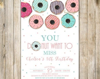 Teal Pink DONUT Birthday Invitation, Pink Mint Breakfast Birthday Invite, Girl 5th Birthday, Donut & Pyjamas, Donut Want to Miss Invites