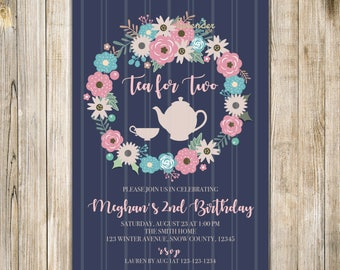 Navy Blue Floral TEA FOR TWO Invitation, Tea for 2 Invite, Girl 2nd Birthday, Twin Girls Birthday Tea Party, Floral Wreath Birthday Invite