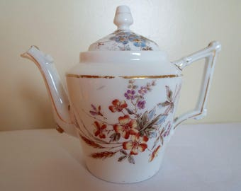 Victorian Limoges Teapot. Antique French Small Tea Pot With Flowers and Butterflies. Tea for two or breakfast in bed! Holds 2 - 3 cups