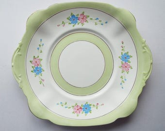 Vintage Sandwich Plate Or Large Cake Plate By Standard China. Hand Painted Green Cake Plate or Serving Platter, With Pink and Blue Flowers