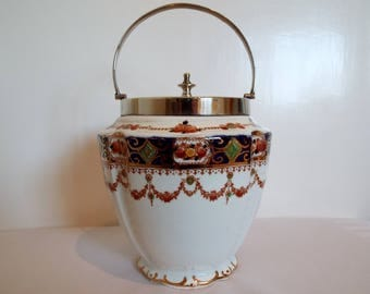 Antique Biscuit Barrel. Edwardian Imari Pattern Biscuit Jar or Cookie Jar With Silver Plated Lid And Handle. Possibly by Wild Bros China