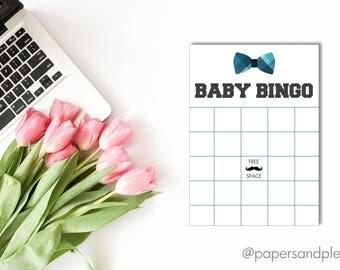 DIGITAL FILE - Baby Shower BINGO Game Card | Little Man Baby Shower | Bow Tie Baby Shower | Baby Shower Games | Plaid Bow Tie Baby Shower
