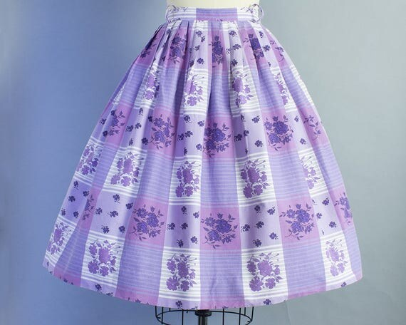 1950s Purple Plaid Cotton Skirt | Medium (27 Waist)