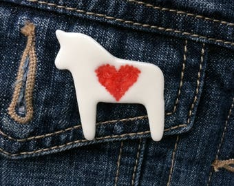 Equestrian gift, porcelain horse pin, red heart jewellery,  gift for horse lover, Scandi style horse brooch, ceramic horse, horse jewellery