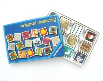 1974 Ravensburger memory game, 118 retro cards, vintage children game