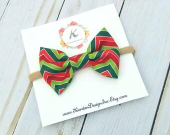 Christmas nylon headband - chevron bow - christmas bow - holiday bow - nylon headbands - baby girl headbands - christmas headband - hair bow