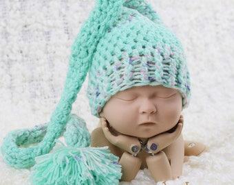 Baby Sleeping Cap, Stocking Hat, Crochet Nightcap, Sleep Cap, Newborn Photo Prop, Mint Green Crochet Sleep Cap, Newborn Photography Prop