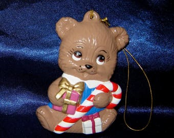 Bear Ceramic Ornament with Candy Cane and Gifts - Ceramic Bear Ornament - Christmas Ornaments - Teddy Bear Ornaments