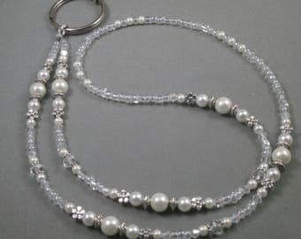 beaded ID  breakaway lanyard select size and clasp, white pearls and crystals tag lanyard necklace, gift under 20 for women cute unique