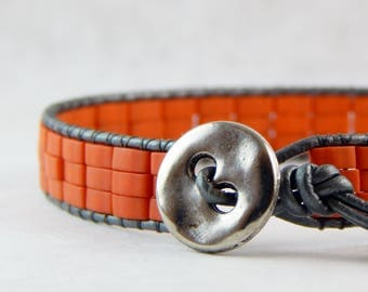 Leather Beaded Wrap Bracelet - Beaded Bracelet - Tila Beads - Orangy Peachy