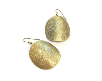 Ethnic engraved brass round earrings