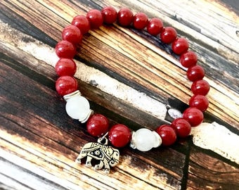 Red Mountain Jade Silver Elephant Charm Bracelet