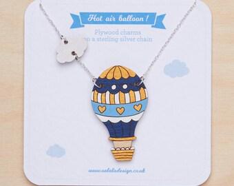 Hot air balloon necklace, Air balloon pendant, Cloud charm, Kawaii necklace, Adventure jewelry, Air balloon charm, Balloon jewellery, Travel