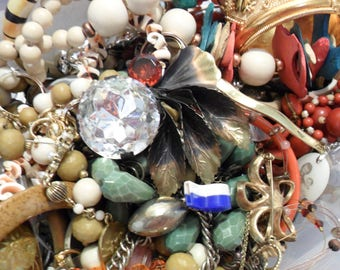 Vintage Scrap Jewelry Lot - Mystery Collection - Harvest Jewelry Supplies - Altered Art - Mixed Media - Beads and Stones - Charms Pins