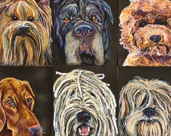 "oil pastel - original artwork - custom pet portrait - 8.5x11"" card stock - pastel on paper - pet memorial - dog art - dogs - pet lover"