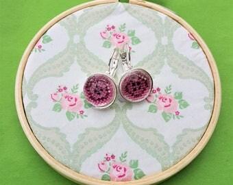Handmade cross stitch earrings buttons purple