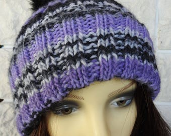 Hand Knitted Women's Two Style Purple, Grey And Black Random Winter Hat With Black Pompom - Free Shipping