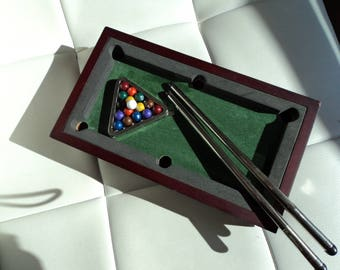 Unique Miniature Billiard Pool Table Game with Steel Balls, Chrome Cues, Wood Table w Felt Covering 5x8""