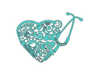 Surgical Tech Heart Stethoscope collage decal