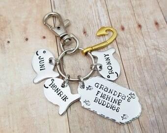 Dad Keychain • Daddy's Fishing Buddies • Grandpa's Fishing Buddies • Gifts for Dad • Grandpa • Father's Day Gift • New Fishing Buddy