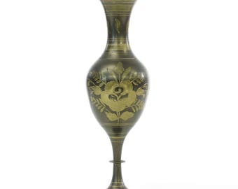 Vintage Solid Brass Etched Brass Vase w/ Flowers - FREE SHIPPING