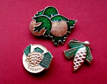 Pine cone, nuts Pin. New Year, Pick from set. Vintage Soviet badge, Christmas tree, Winter, Gift, Soviet Vintage Pin, Made in USSR