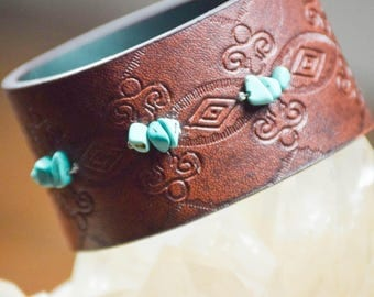 Leather Bracelet -Turquoise Cuff- Vegan Leather Cuff- Upcycled Belt Bracelet- Leather Cuff- Turqiouse Bracelet - Embossed Cuff - Imprinted