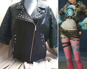Tracer Overwatch punk used leather jacket with spikes