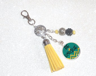 Jewelry bag Keychain yellow tassel, beads and cabochon BE UNIQUE