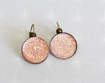 Earrings sleepers bronze rhinestone cabochon light powder pink