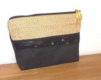 Japanese cotton bag pouch purse yellow/black sequins black glitter