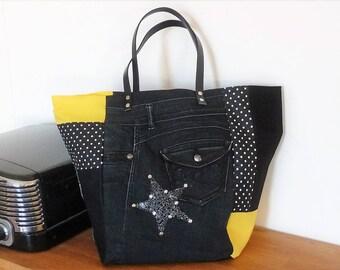 bag cabascreateur patchwork piece unique yellow/black/polka dot black jeans, leather, black leather handles