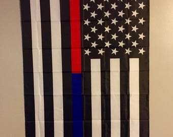 Thin Blue Line & Thin Red Line Law Enforcement/ Fire Fighter American Flag 3'X5'