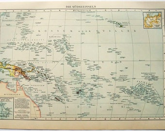 South Pacific Islands: Original 1896 Map by Velhagen and Klasing. Antique