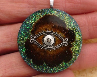 Red Moon Silver All Seeing Eye Crystal Ormus Orgone Energy Unisex Pendant Necklace 40mm Green Moldavite Psychic Vision Intuition Wisdom