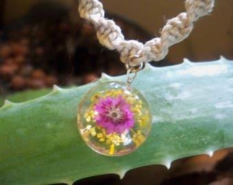 Macrame Hemp Necklace with Pressed Flower Pendant