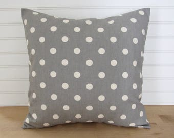 gray polka dot pillow cover
