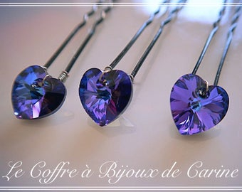 Pics 3 bun heart Swarovski Crystal - choice of color