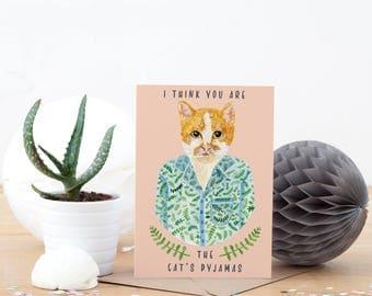 The Cat's Pyjamas Greeting Card | Cat Illustrated Greeting Card | Birthday Card | Cat Greeting Card | Ginger Cat Card | The Cats Pyjamas