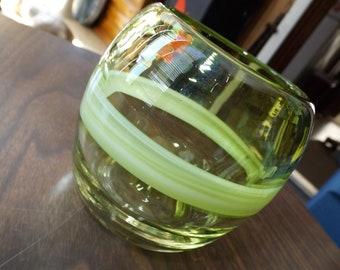 Vintage, Hand Blown Art Glass, Votive Candle Holder, Home Decor, Green Art Glass, Candle Holder, hand blown glass vessels, Vase, Cup, gift