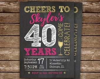 40th Birthday Invitation for Woman, Cheers to 40 Years Birthday Invite, Printable Adult Birthday Party Invitation, 40th, 50th, 60th Birthday