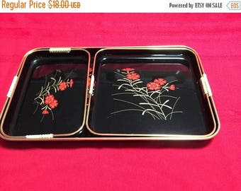 Christmas in July Sale 3 Piece Black and Red Floral Nesting Tray Set