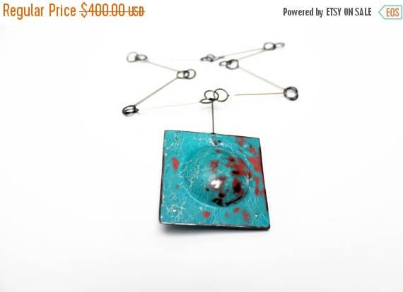 """On Sale Handmade, Distressed Copper and Silver Necklace - """"Old Hollywood"""""""