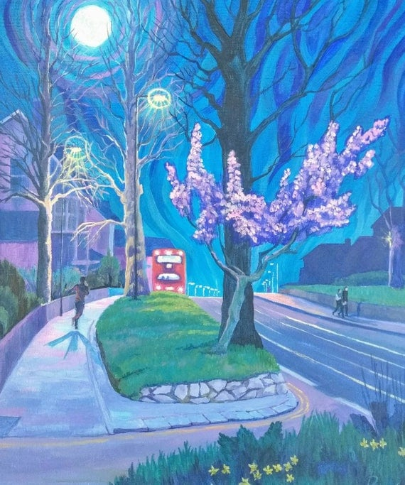 Spring Evening, original painting in acrylic