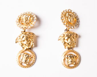 Gianni Versace Medusa Head Rhinestone 90s Vintage Drop Earrings