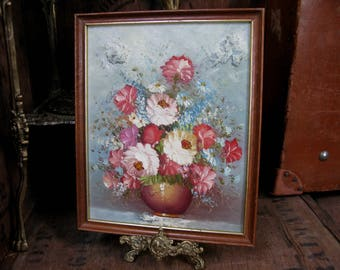 Floral Oil Painting, Oil Painting, Floral Still Life, Rustic Decor, Vintage Oil Painting, Flower Painting, Vintage Florals, Old Oil Painting