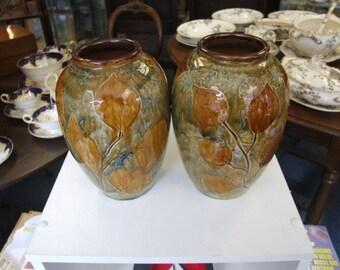 Pair of Royal Doulton Autumn Leaves Vases - Circa 1925